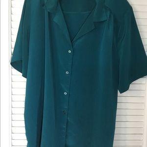 DonnKenny blouse 2x green short sleeve